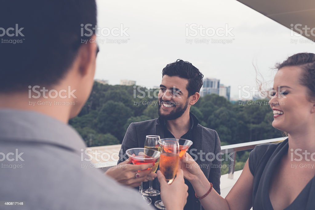 Drinking cocktails stock photo
