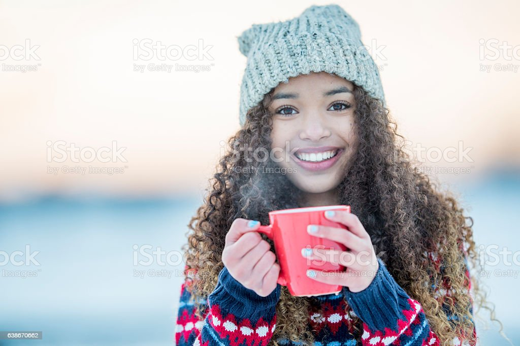 Drinking Cocoa on a Winter Evening stock photo