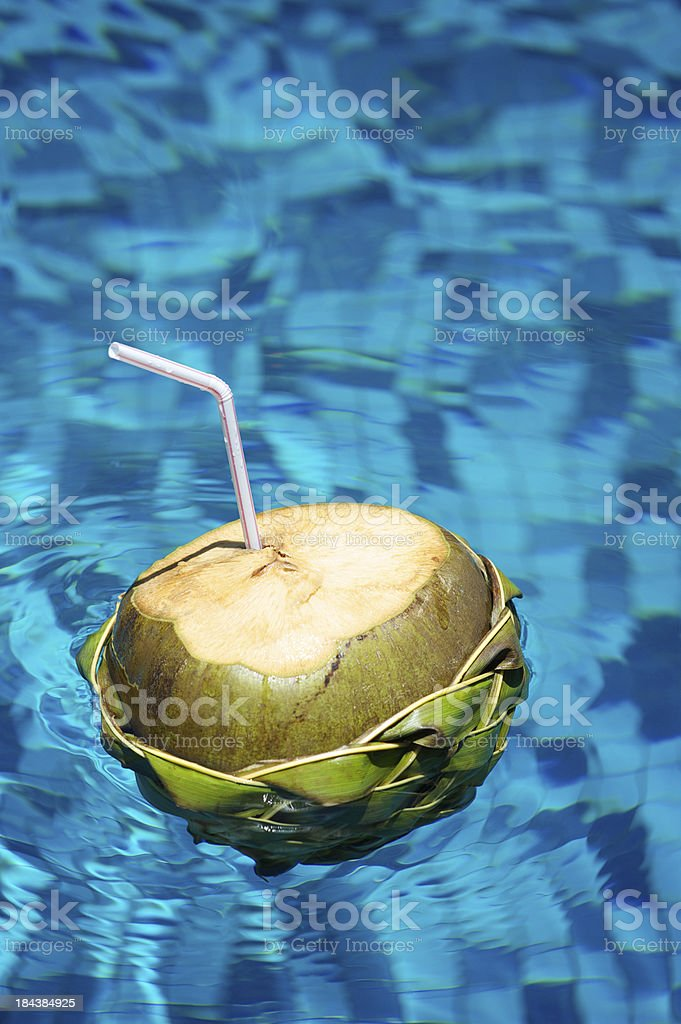 Drinking Coconut with Straw Floats in Blue Pool stock photo