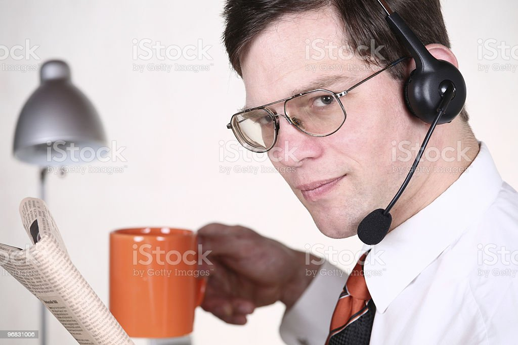 Drinking Coffee and Reading Business stock photo