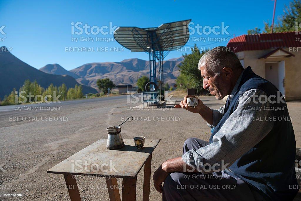 Drinking coffee in Yeghegnadzor, Armenia stock photo