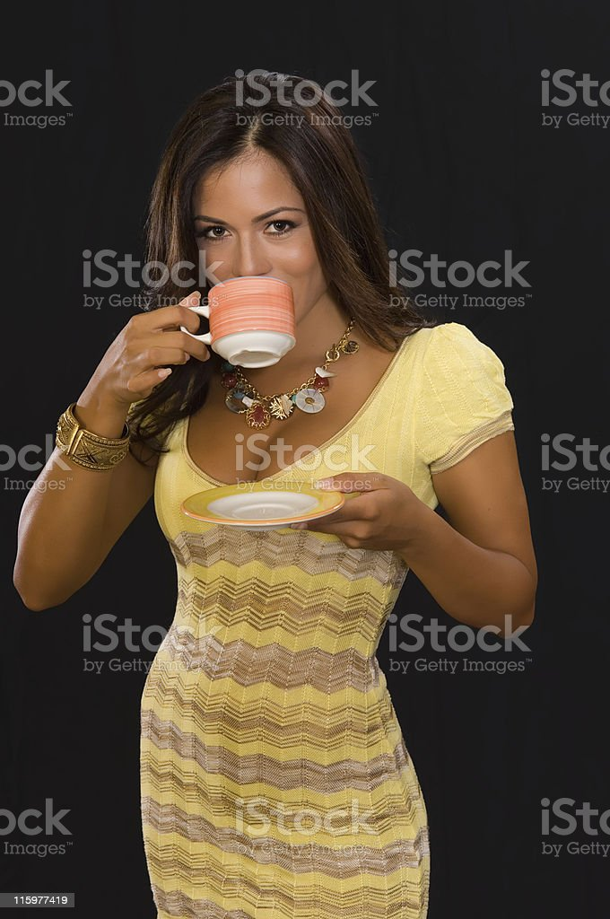 drinking coffee royalty-free stock photo