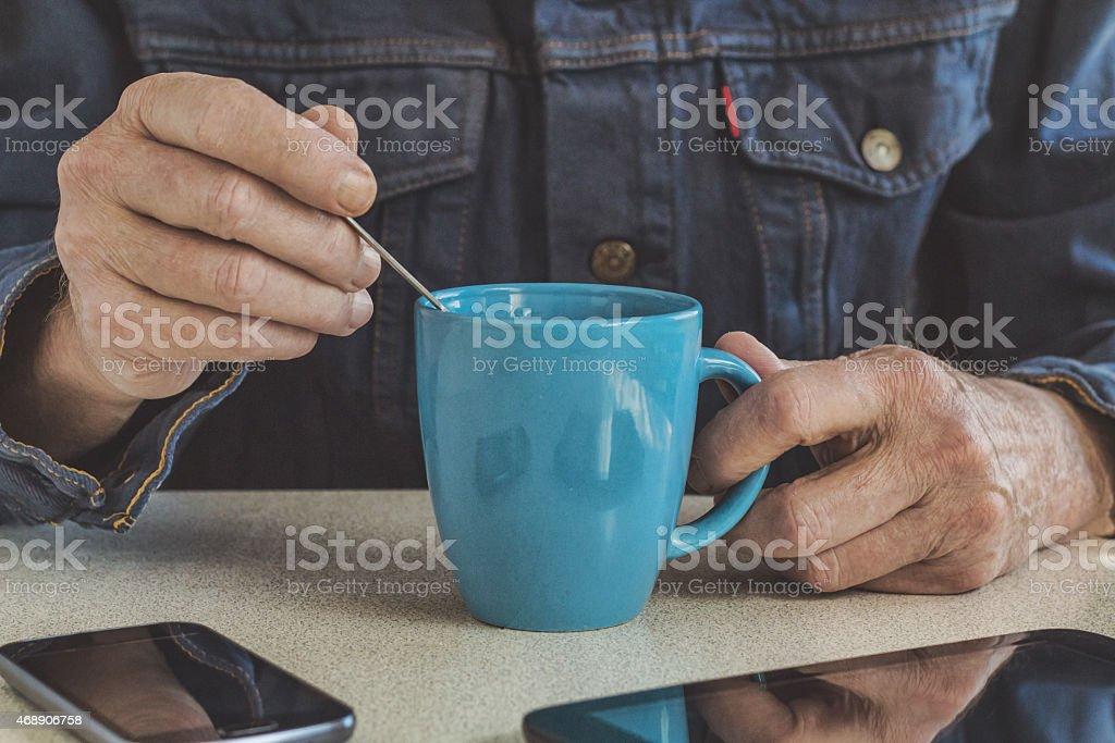 drinking coffee stock photo