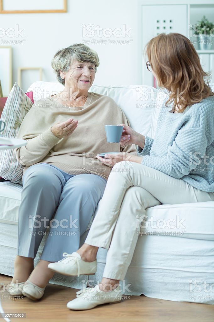 Drinking coffee together stock photo