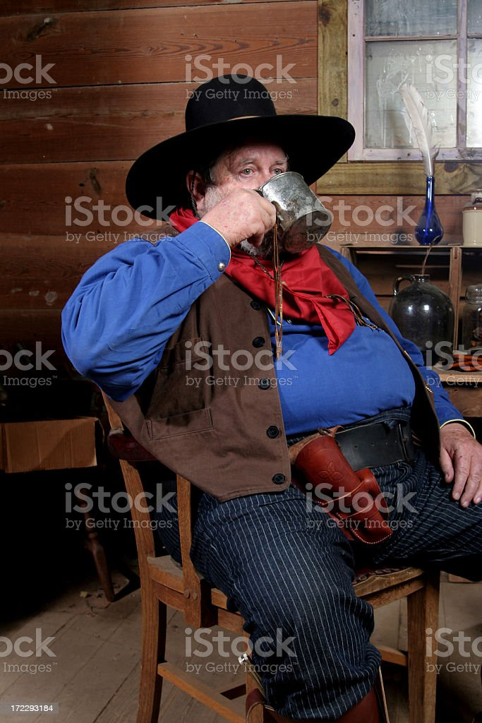 Drinking Cowboy stock photo