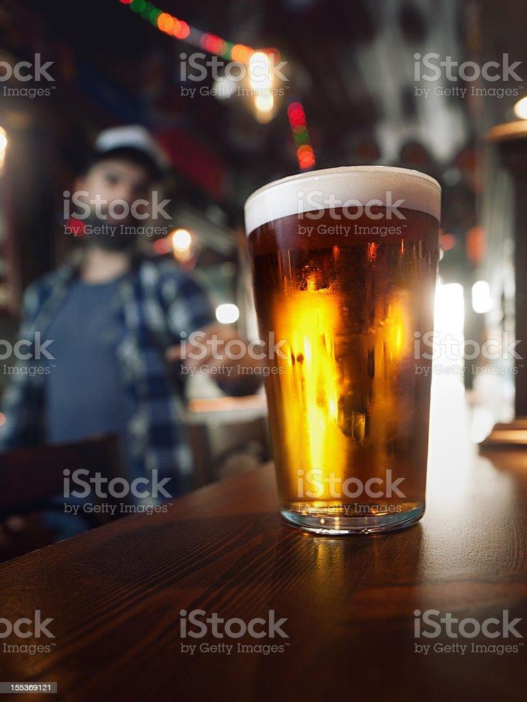 Drinking craft beer. stock photo
