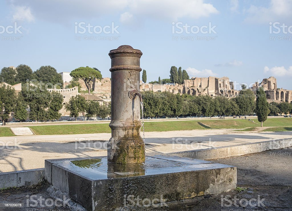 Drinking fountain and the Palatine hill, Rome Italy stock photo