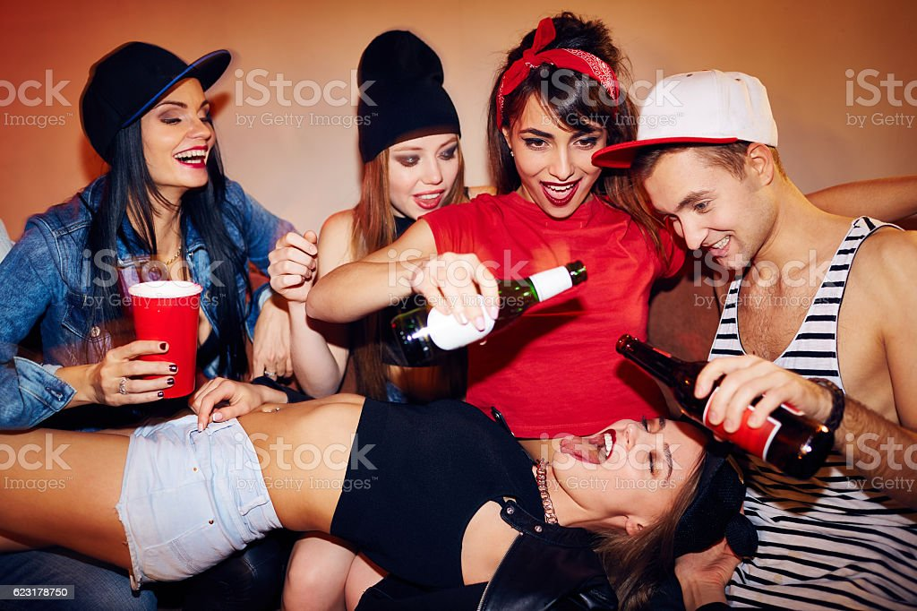 Drinking Games at Student Party stock photo