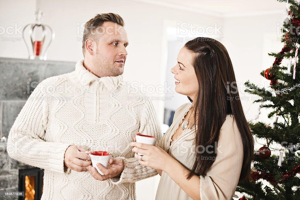Drinking glögg on christmas stock photo