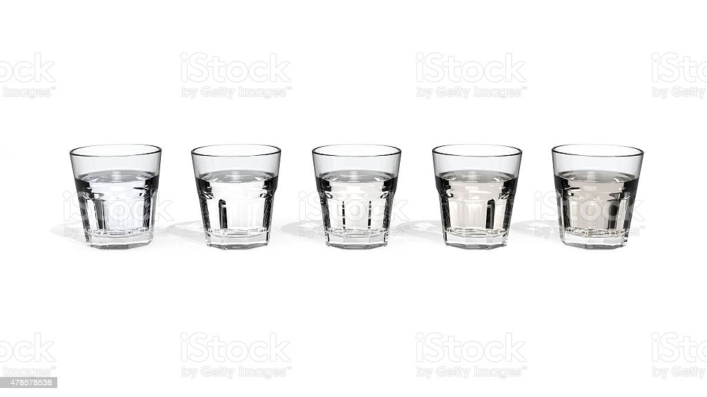 Drinking glasses with water of different quality stock photo