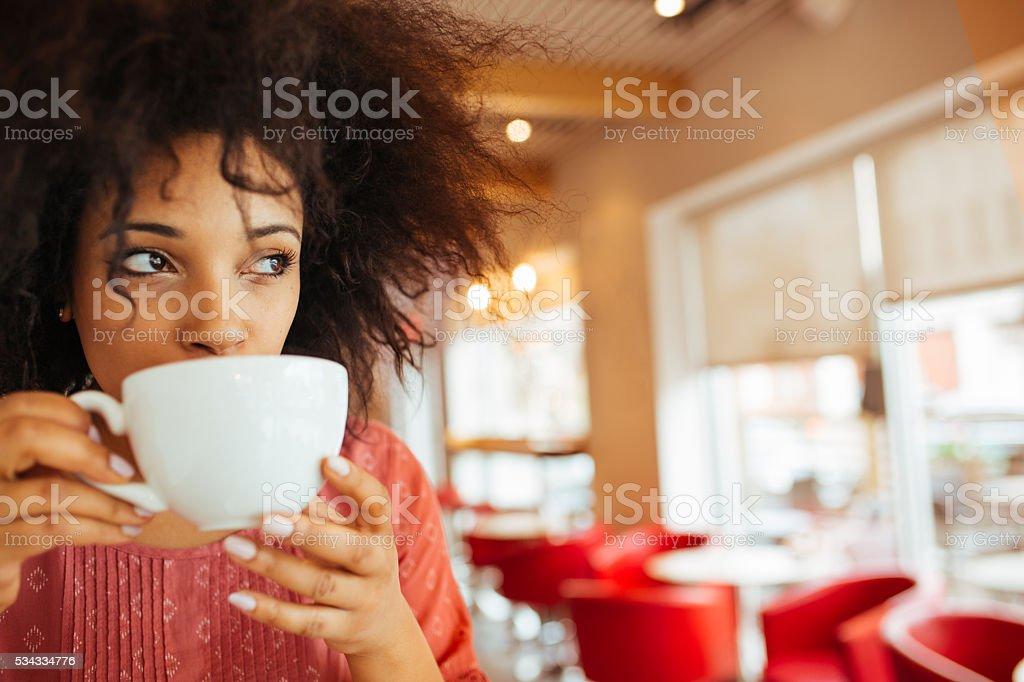 Drinking Hot chocolate stock photo