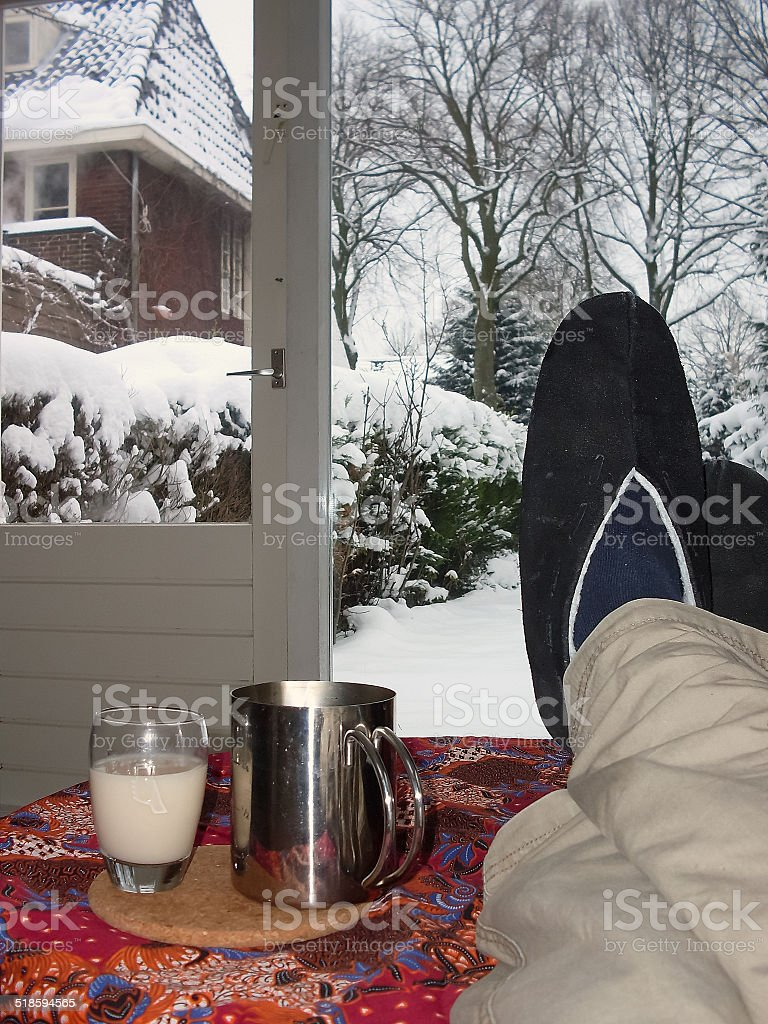 Drinking hot tea after a cold walk through the snow royalty-free stock photo