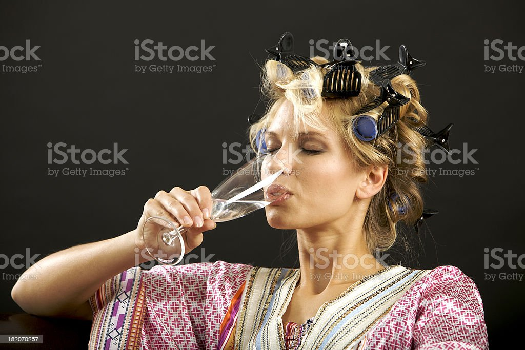 Drinking housewife royalty-free stock photo
