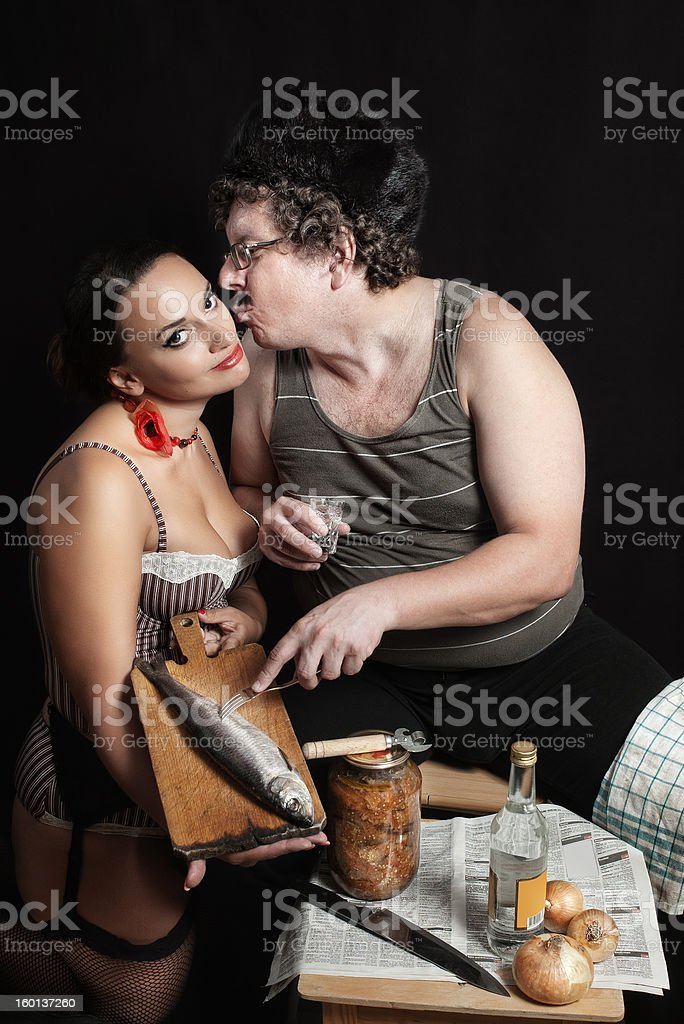 drinking husband and perfect wife royalty-free stock photo