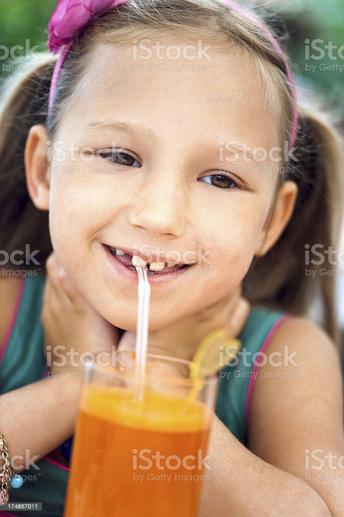 Drinking juice royalty-free stock photo