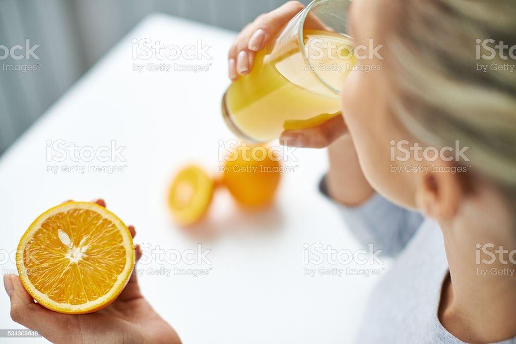 Drinking juice stock photo
