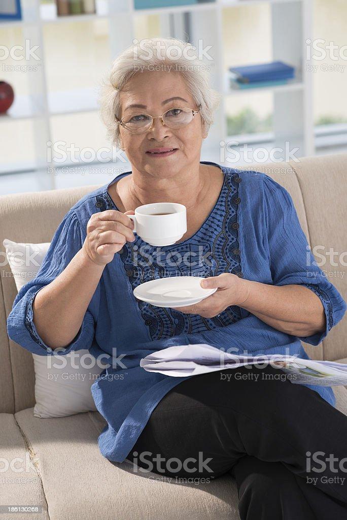 Drinking morning tea royalty-free stock photo