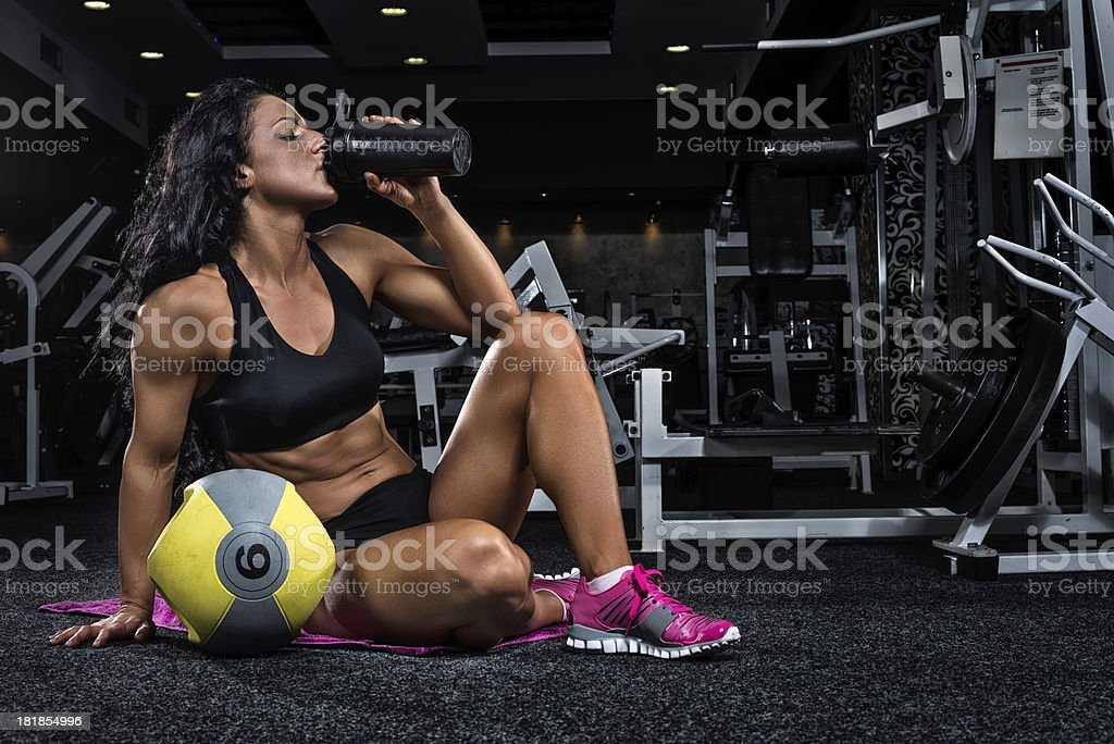 Drinking protein stock photo