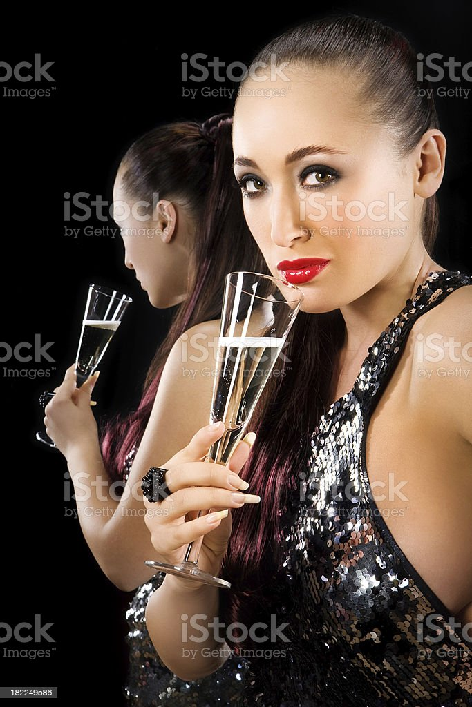 drinking shampagne woman royalty-free stock photo