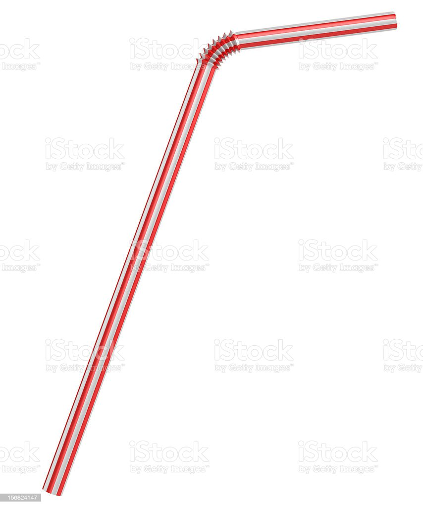 drinking straw isolated on white vector art illustration