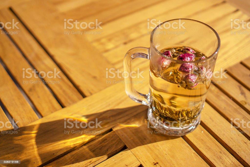 drinking tea at roadside tea house stock photo