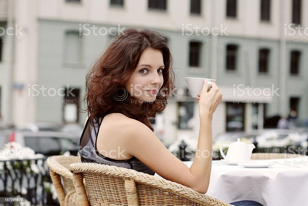 Drinking Tea in street cafe royalty-free stock photo