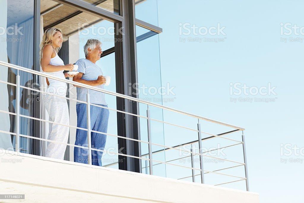 Drinking tea on the balcony stock photo
