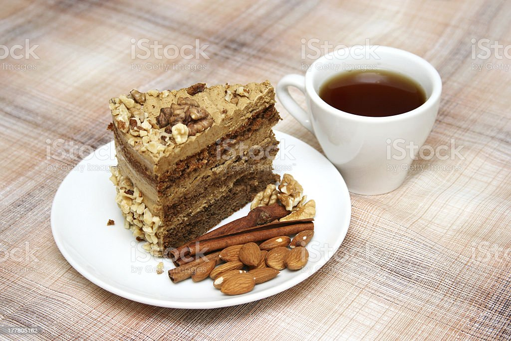 Drinking tea with nut pie royalty-free stock photo