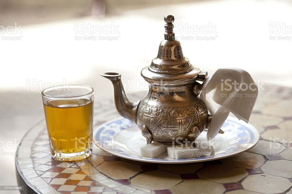 Drinking traditional tea in Marrakesh stock photo