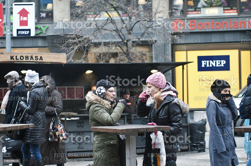 Drinking warm drinks in Prague stock photo