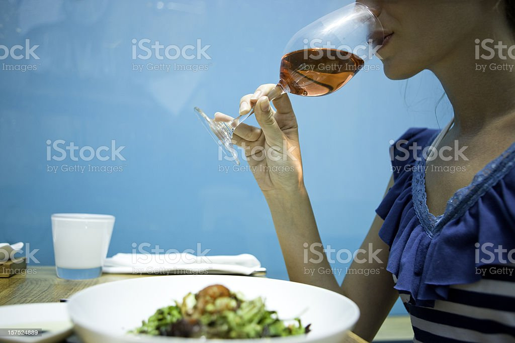 Drinking wine royalty-free stock photo