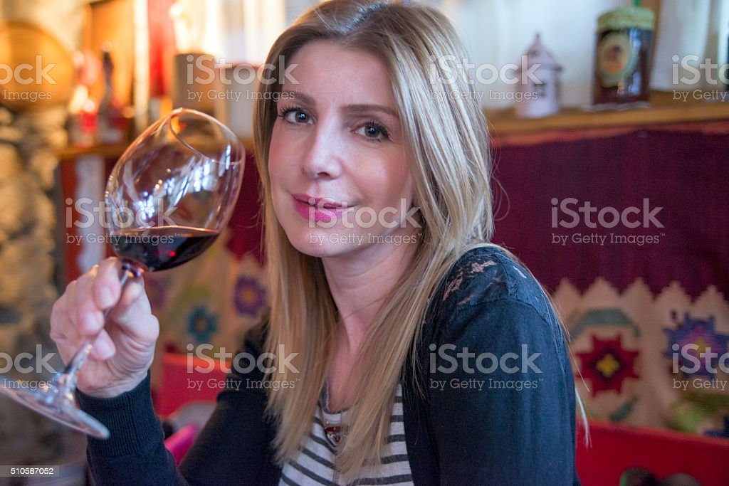 Drinking wine stock photo
