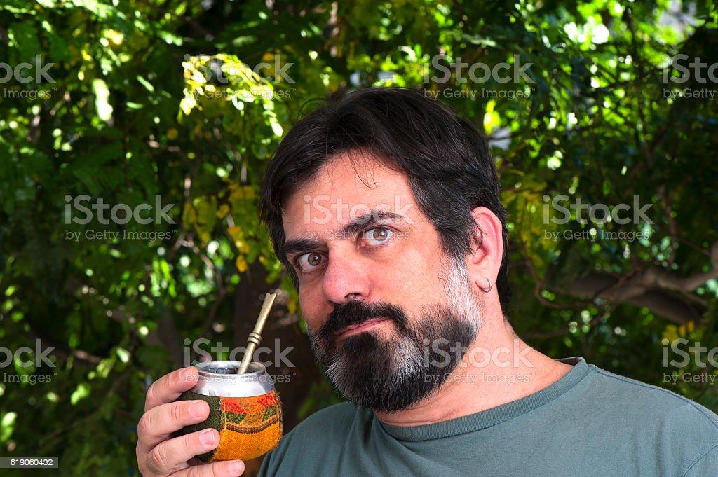 Drinking Yerba Mate stock photo