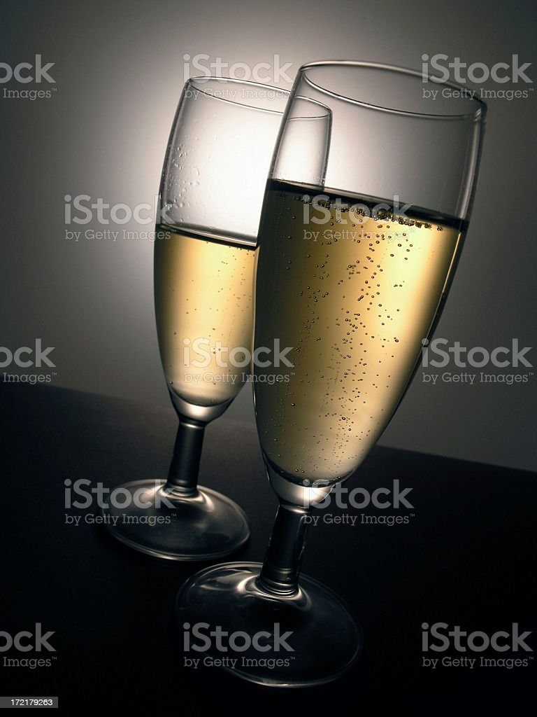 drinks: 2 champagne glasses royalty-free stock photo