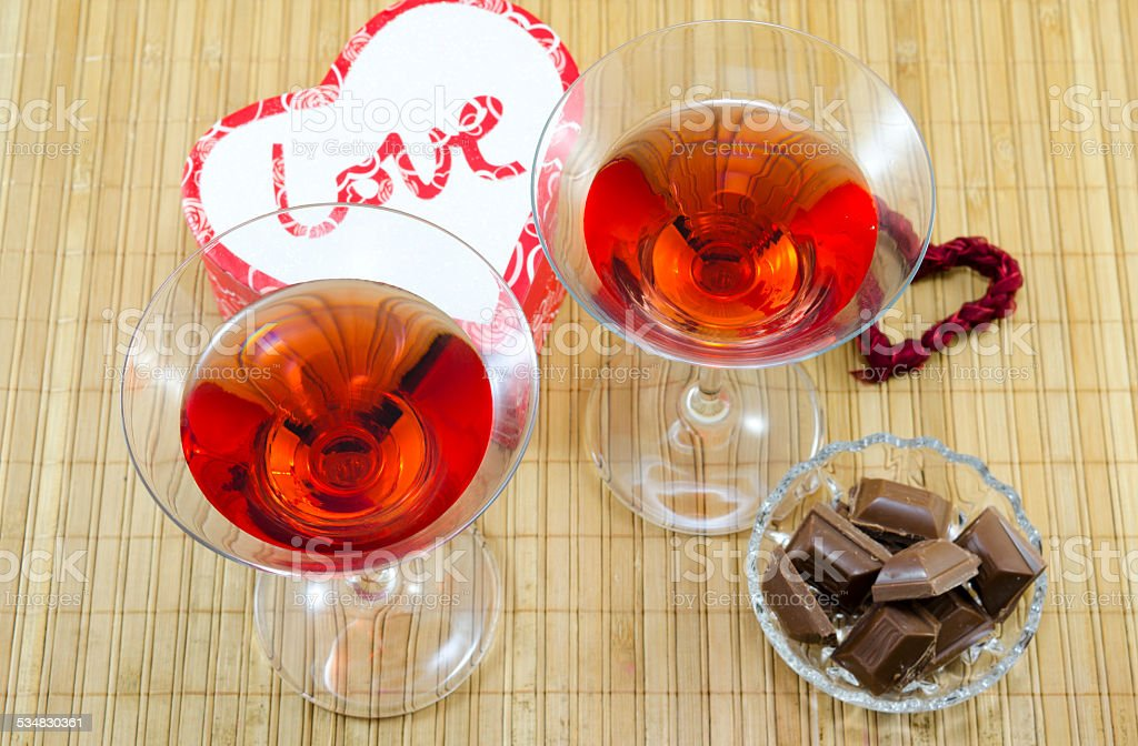 Drinks and dessert for Valentines royalty-free stock photo