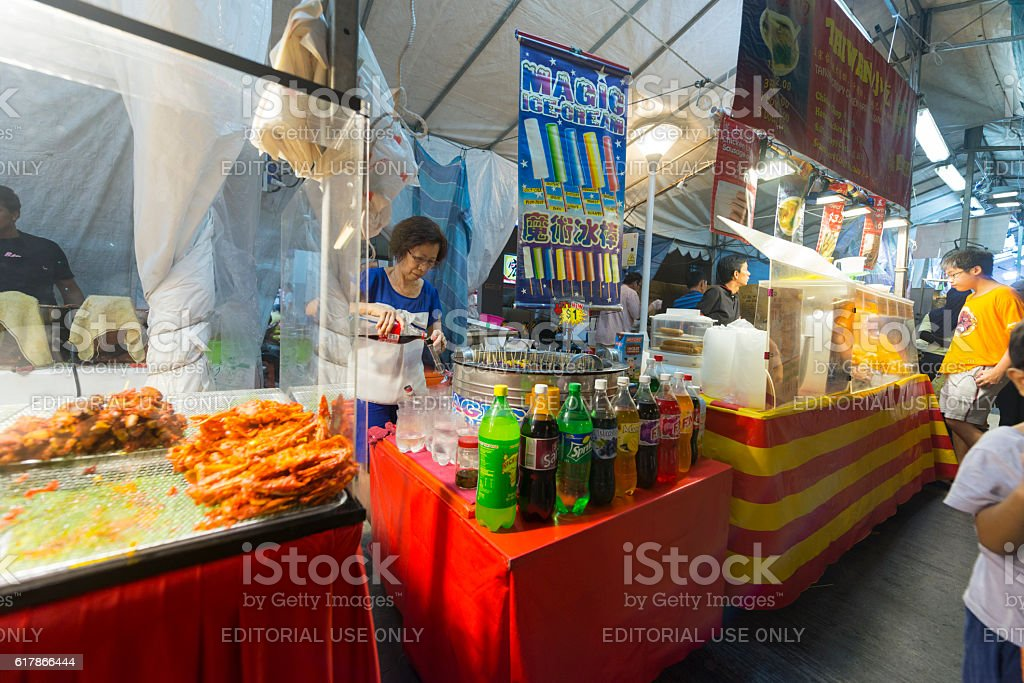 Drinks and Ice Cream Stalls at Pasar Malam, Singapore stock photo