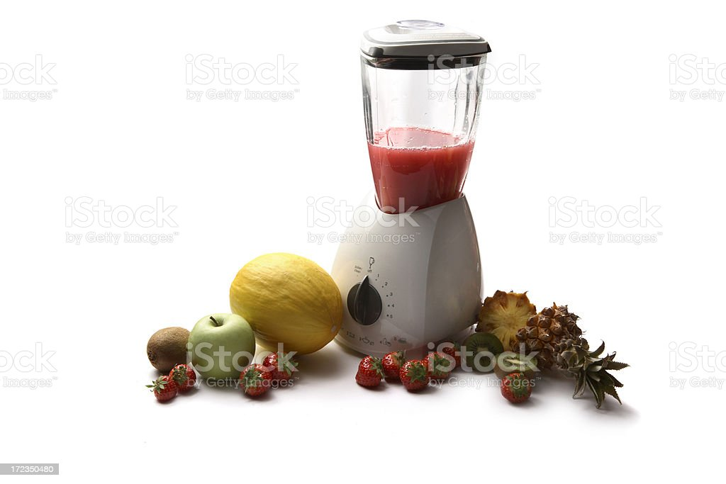 Drinks: Blender and Variety of Fruit royalty-free stock photo