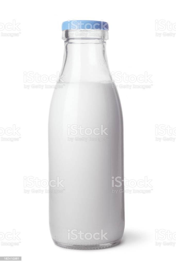 Drinks: Bottle of Milk royalty-free stock photo
