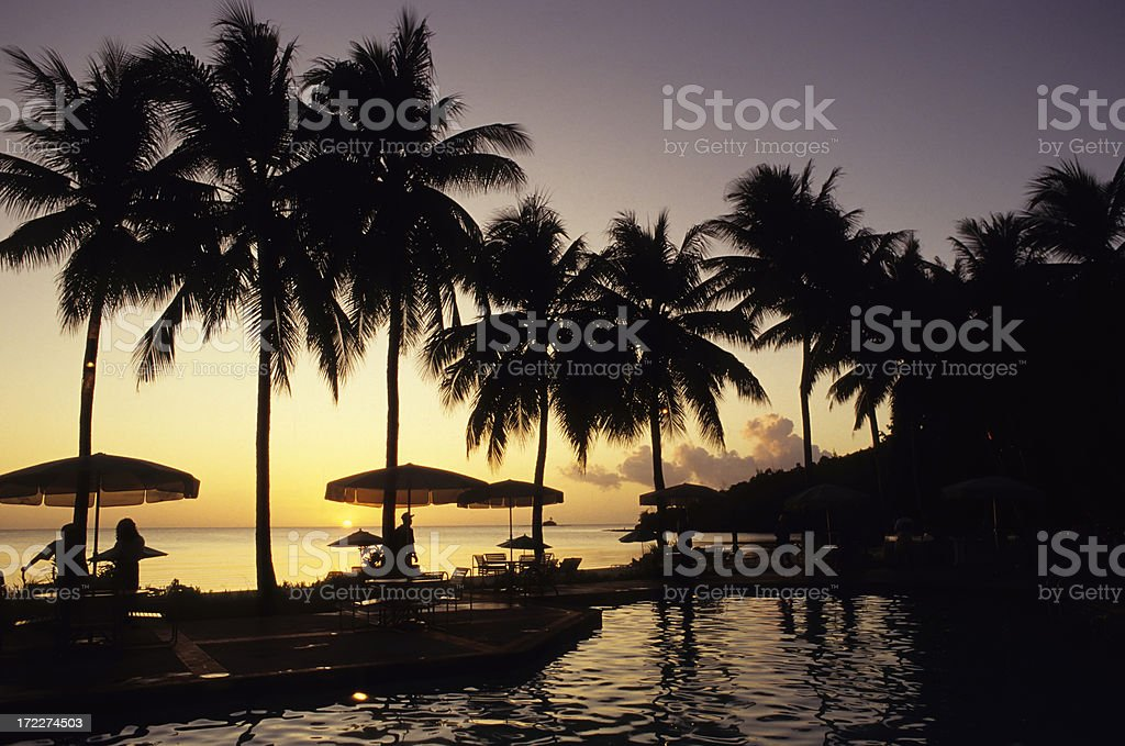 Drinks By The Pool royalty-free stock photo