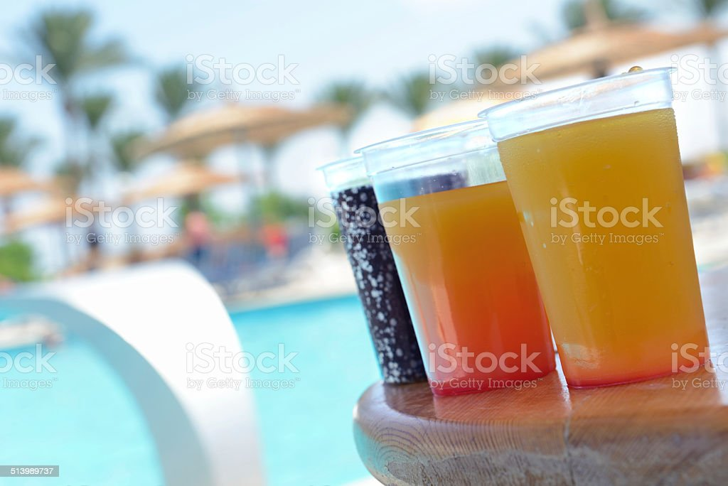 Drinks by the pool stock photo