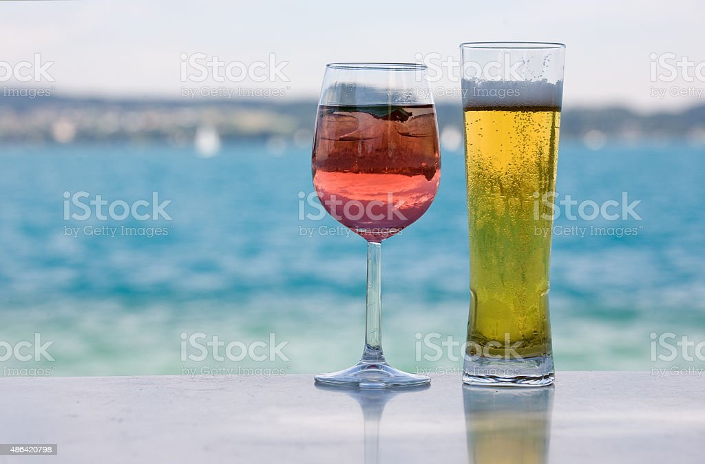 Drinks for men and women stock photo