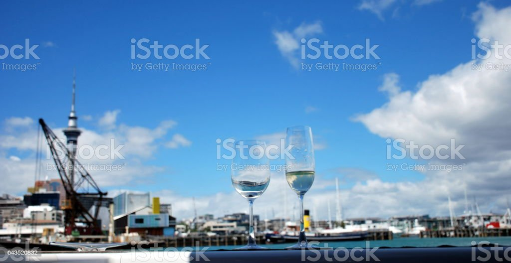 Drinks in Auckland Harbour stock photo