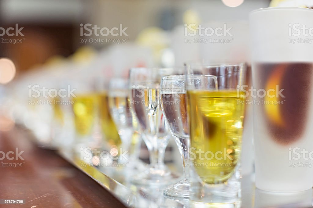 Drinks in restaurant ready to be served stock photo