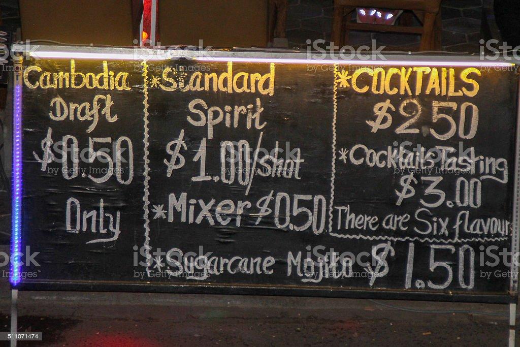 Le menu des boissons photo libre de droits