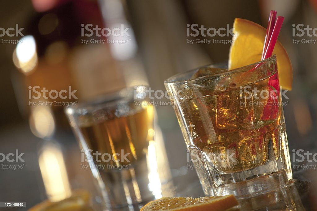Drinks on a Bar royalty-free stock photo
