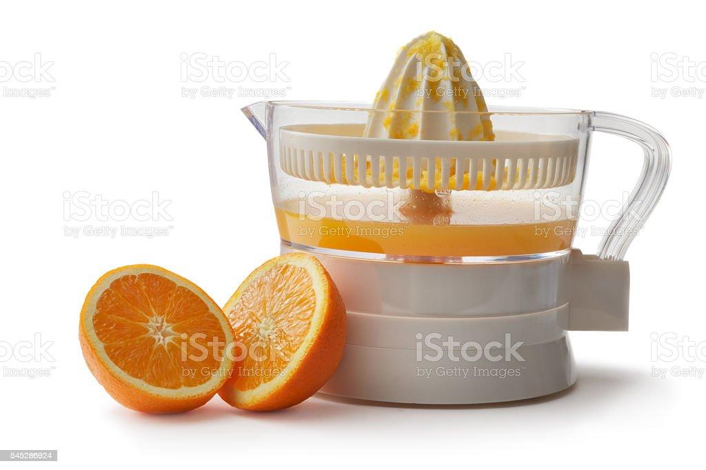 Drinks: Orange Juicer Isolated on White Background stock photo