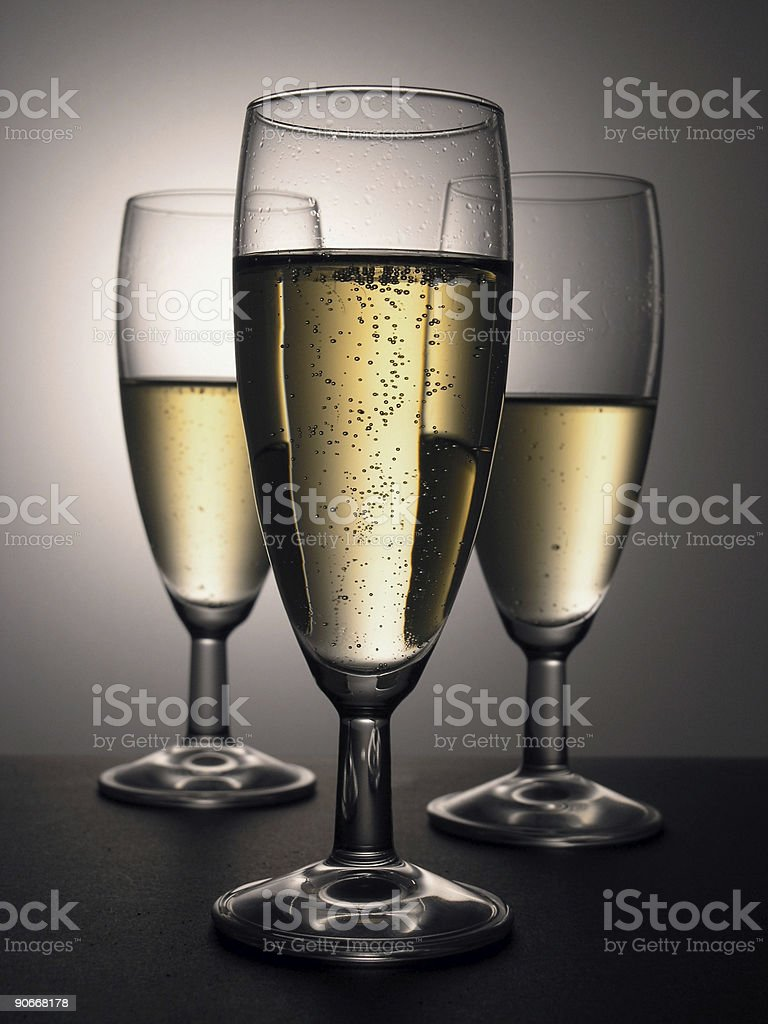 drinks: three champagne glasses royalty-free stock photo