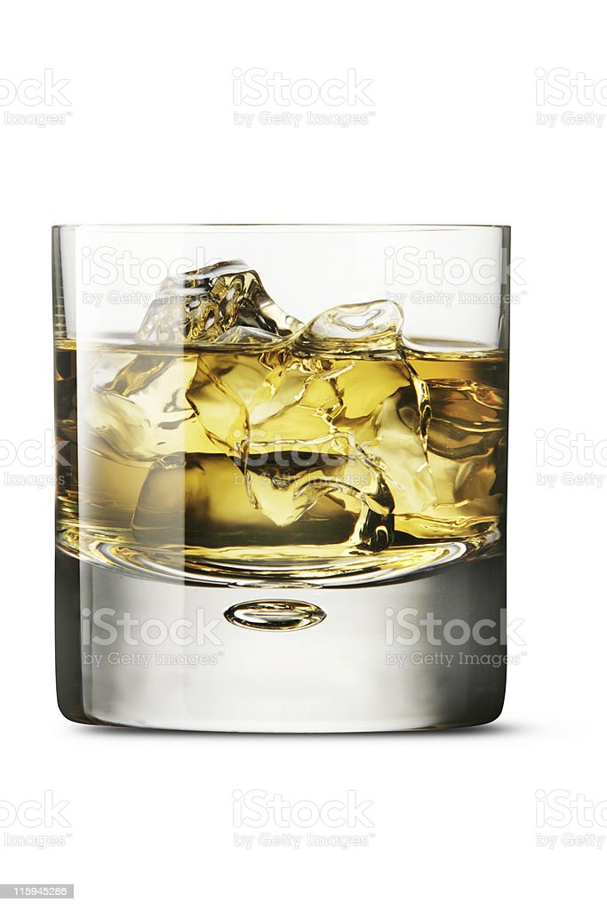 Drinks: Whiskey on the Rocks Isolated on White Background royalty-free stock photo