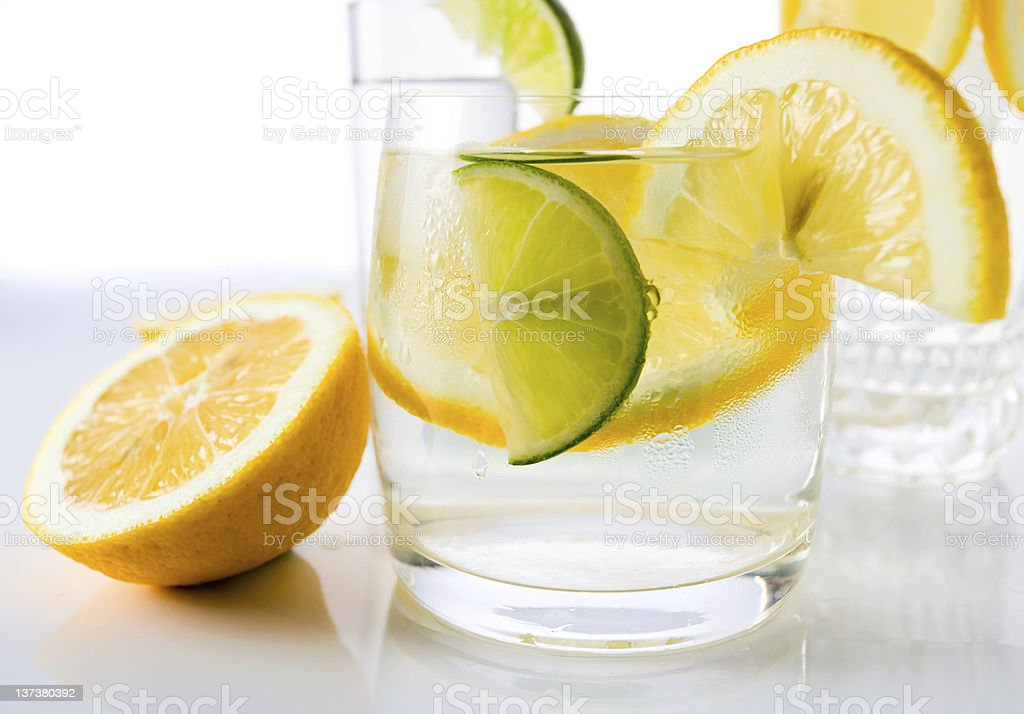 drinks with lemon and lime. royalty-free stock photo