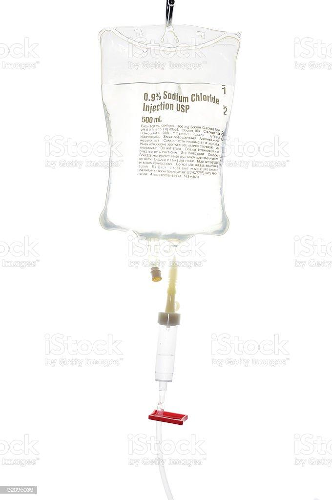 Drip bag and tubing stock photo